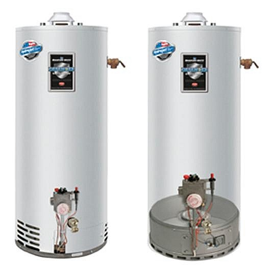 Bradford White Defender FVIR Water Heater and Cut Away Drawing Showing Combustion Air Inlets on the side and the FVIR Burner