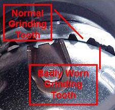 Garbage Disposer Grind Chamber showing condition of grinding teeth.